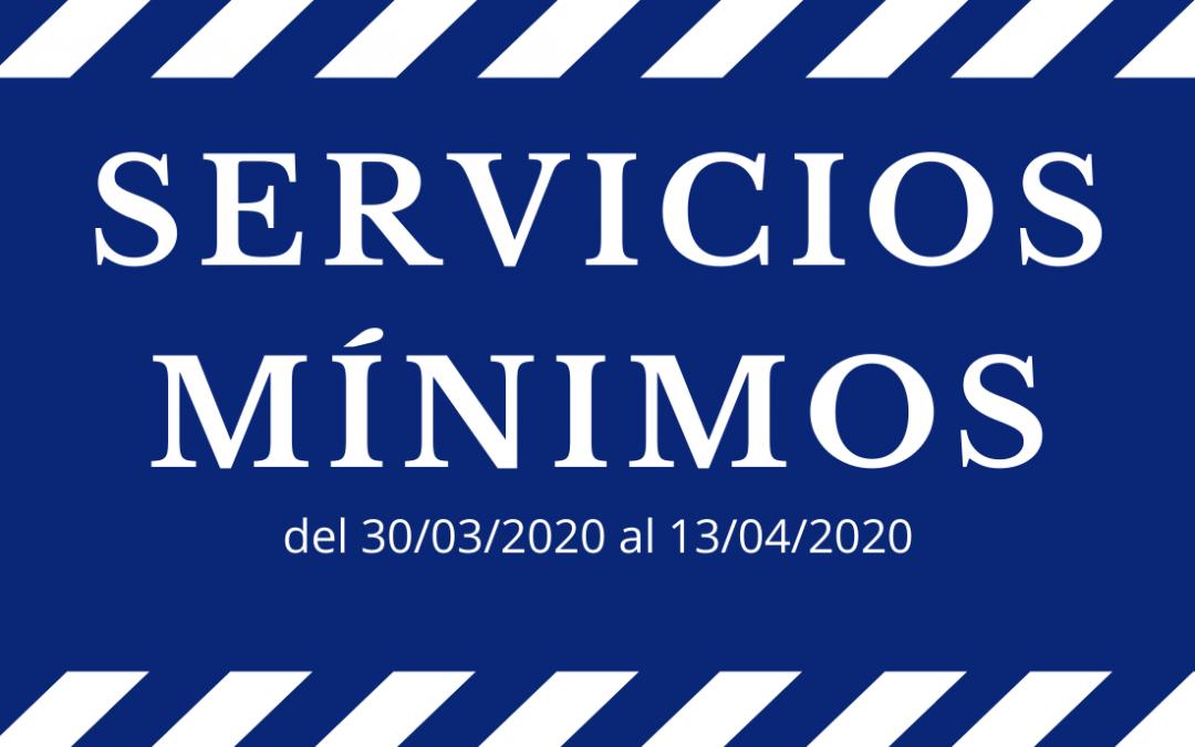 Prestamos servicios mínimos según el Real Decreto-ley 10/2020, de 29 de marzo